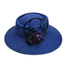 Load image into Gallery viewer, Retro Women Female British Net Flower Wo Felt  Fashion Wide Brim Fedora Porkpie Pork Pie Bowler Hat (57CM Adjust)