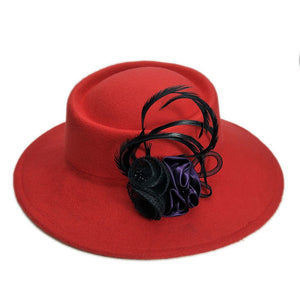 Retro Women Female British Net Flower Wo Felt  Fashion Wide Brim Fedora Porkpie Pork Pie Bowler Hat (57CM Adjust)