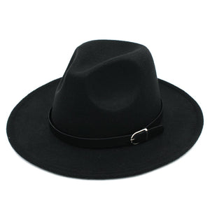 Solid Color Men Women Wo Felt Panama Hat Fedora Caps Leather Band (One Size:57cm-US 7 1/8)