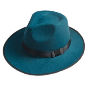 Vintage Men Women Hard Wo Felt Hat Wide Brim Fedora Trilby Panama Hat Gangster Cap (One Size:58cm)