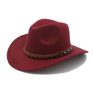 Wo Felt Western Cowboy Hat For Kid Child Wide Brim Cowgirl Kallaite Braid Leather Band (Size:54cm,Adju Rope)