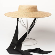 Load image into Gallery viewer, Ladies Wide Brim Hats Raffia Straw Boater Hats Women Summer Beach Sun Hat with Ribbon Tie Vintage Floppy Hats 681066