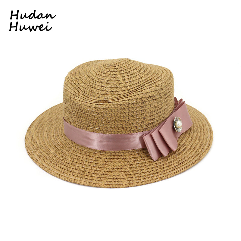 601db7a1327 Lady Boater Sun Caps Ribbon Round Flat Top Straw Fedora Panama Summer Women  Snapback Straw Hat Female Travel Beach Hat GH-681