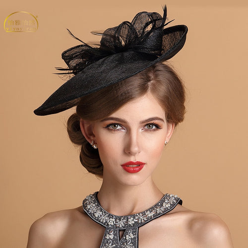 Lady Fedoras Hat Girls Church Party Linen Cap Female Feather Linen Party Cap Black British Style Fashion Girl Hats  B-8709