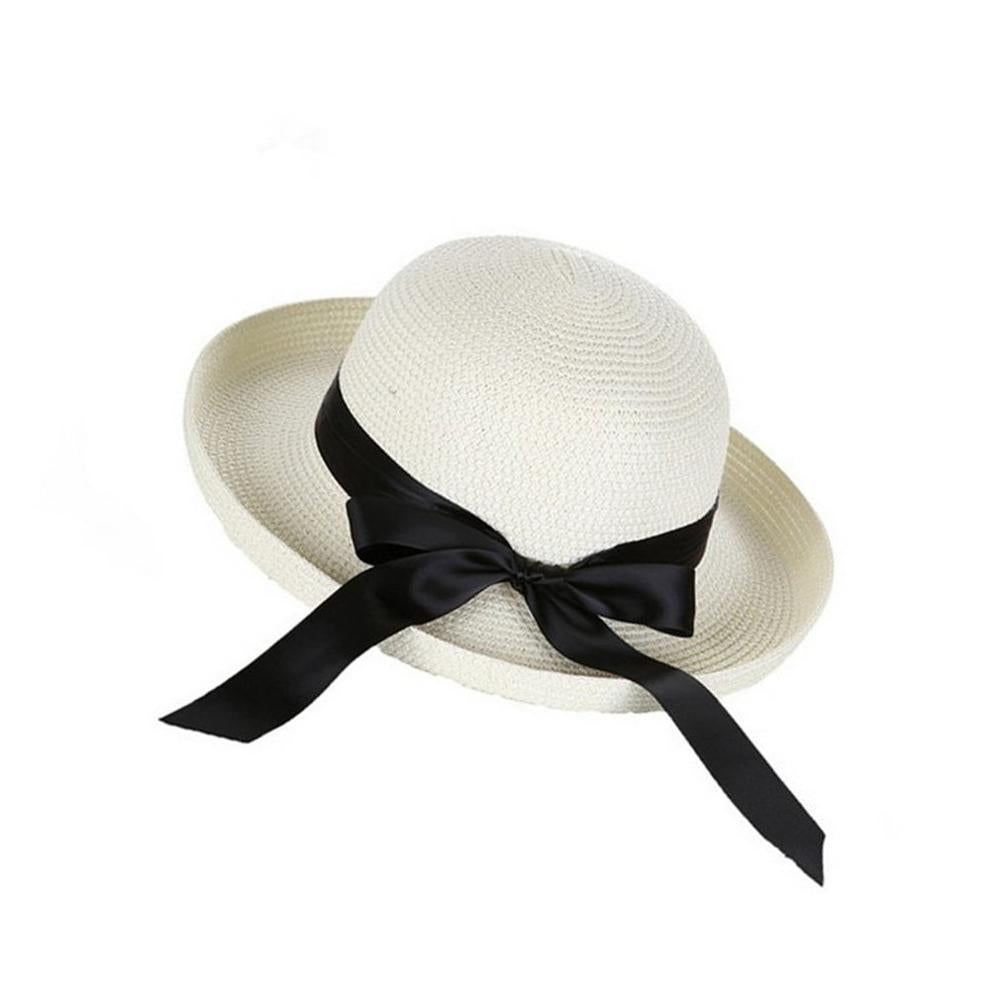 ce267ef8 Lady Summer Boater Sun Hats Cap Ribbon Round Flat Top Straw Beach Hat –  oePPeo - Master of Caps & Hats