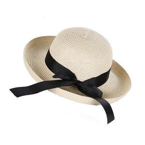 9ad5e131848e7 Lady Summer Boater Sun Hats Cap Ribbon Round Flat Top Straw Beach Hat  Panama Hat for