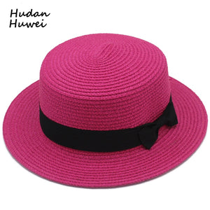 Lady Woman Boater Sun Caps Ribbon Round Flat Top Straw Fedora Panama Summer Women Snapback Beach Straw Hat GH-599