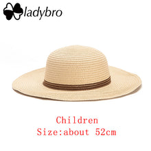 Load image into Gallery viewer, Wide Brim Floppy Kids Straw Hat Sun Hat Beach Women Hat Children Summer Hat UV Protect Travel Cap Lady Girls Cap Female