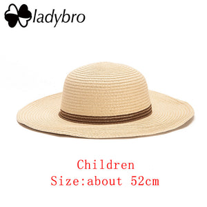 Wide Brim Floppy Kids Straw Hat Sun Hat Beach Women Hat Children Summer Hat UV Protect Travel Cap Lady Girls Cap Female