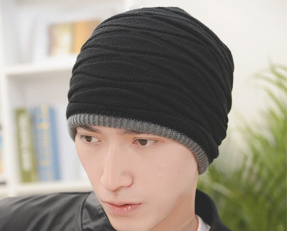 High Quality Cheap Price Adult Men Autu Winter Thick Warm Beanie Hat Black Blue Grey Knit Hats Custom Beanie CP003