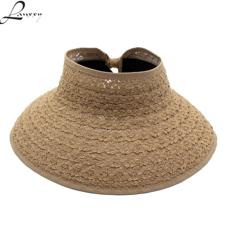 2018 New Trendy Lace Panama Sun Hats without tops Foldable Summer Outdoor Beach  Hat Women Wide Brim Caps e8ecdda5190