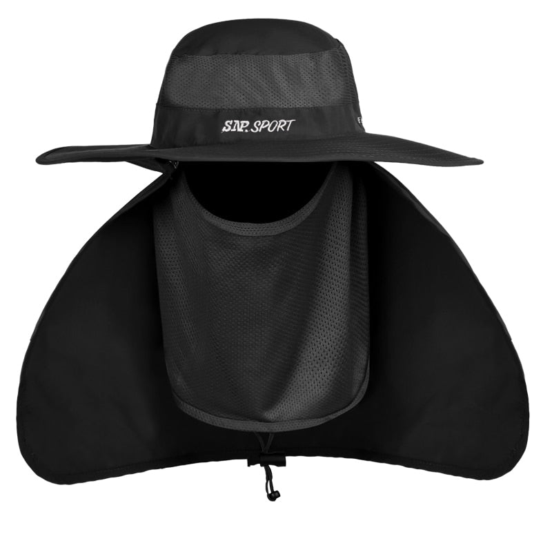7ed64d627a9 Large Wide Brim Men Fishing Bucket Hat Outdoor Breathable Summer Sun UV Cap  Face Neck Protection Anti Mosquito Hat For Fisherman