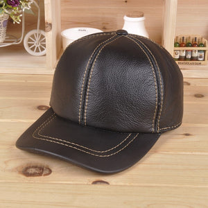 Leather baseball cap autumn winter men and women casual leather cap Cowhide 100% genuine leather hat ear warm Black Brown