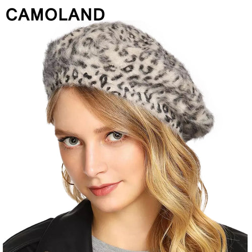 Leopard Print Women's Winter Hats Fashion Women Fur Cap Berets Wo Lady Autu Warm Girl Painter Hat Rabbit fur Small leopard