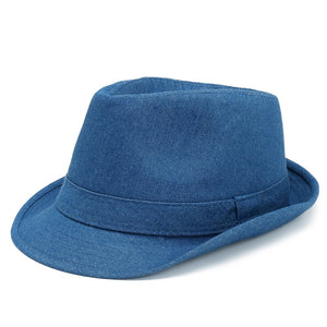Denim Wide Brim Men Fedora Hats For Woman Flat Top Hat Unisex Trilby Jazz  Caps Panaman ed386fea63ae