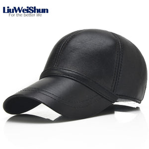 2018 Spring Sheep Skin Genuine Leather Baseball Cap For Men Quality  Adjustable Black Hats Dad s Casual e91a7ebf080