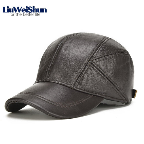 Winter Solid Geniune Leather Baseball Cap Men with ear protector Classic Cowhide Male Bomber Outdoor Dad cap Hat