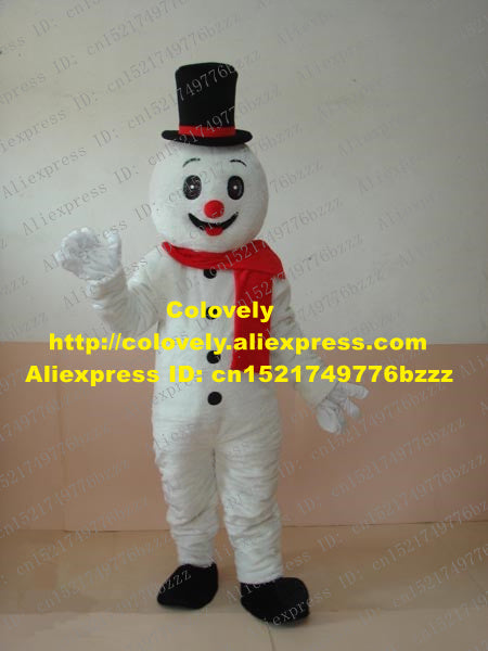 Lively White Yeti Snow Man Snowman Mascot Costume Mascotte With Happy Smiling Face Black Hat Adult Fancy Dress No.197 Free Ship