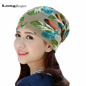 LongKeeper 2017 New Women's Hat Scarf Stripped Cap Beanie Spring&Autu Skullies Female Round Beanie