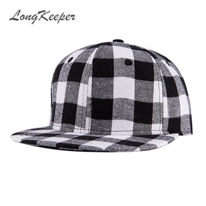 3eed8910b4f LongKeeper Cassic Black White and Red black Plaid Canvas Cot Adjustable  Snapback Caps For Men Women