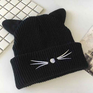 Lovely Cat Ears Hat Beanie Women Warm Solid Color Hip-hop Lady Girls Winter Knitted Wool