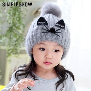 09550af34f3 Lovely Children Hat Knitted Pompoms Winter Hat Cute Cat Shape Hat For Boys  Girls Thick Skullies
