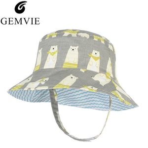 Lovely Sunscreen Boys Girls Bucket Hat Reversible Cot Bob Caps Summer Autu Fisherman Panama Hats