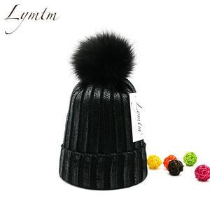 [Lymtm] 2018 Autu Bright Black Knit Cot Beanies Women Faux Fur PomPoms Skullies Caps Winter Thick Warm High Quanlity Hats