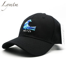 Load image into Gallery viewer, [Lymtm] 2018 Harajuku Waves Embroidery Baseball Cap Japanese Style Men Women Casual Curved Breathable Snapback Sun Hats Bone