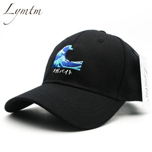 [Lymtm] 2018 Harajuku Waves Embroidery Baseball Cap Japanese Style Men Women Casual Curved Breathable Snapback Sun Hats Bone