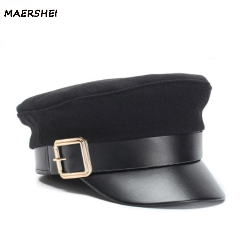 Women's autu winter black  Military cap Army cap Casual fashion wo leather Beret hat Female vintage flat-top hat br