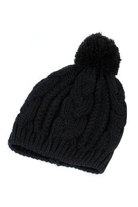 MAKE Hot NEW Warm Winter Unisex Men Women Knit Bobble Beanie Baggy Hat - Black