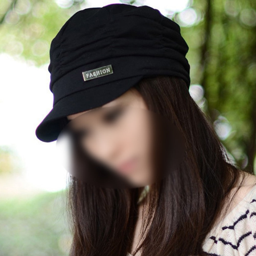 MAKE Hot Women Girl Fashion Design Drape Layers Beanie Rib Hat Brim Visor Cap FFH010BLK Black