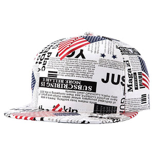 MALL Embroidery Snapback, Baseball Hat Flat Brim Hip Hop Caps, Beige American newspaper pattern