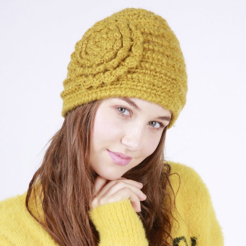 MARKPORDA Unique Design Women Knitted Hat Caps Warm Winter Hats For Women Luxury Brand Skullies Beanies HT010
