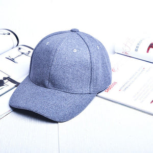 Pure color wo tweed adjustable baseball cap  men and women winter  Leisure warm hat accessories