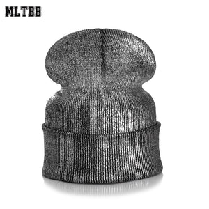 2020 Winter Hat Women Fashion Skullies Beanies Warm Girls Hats Female Thick Gold Stamping Woollen Solid Knitted Unisex Hat
