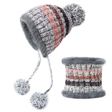 Load image into Gallery viewer, Pompoms Women Winter Hat Scarf Set Girls Boys Warm Knitted Caps Scarves Men Female Sets 2 Pieces Unisex Hats Scarves