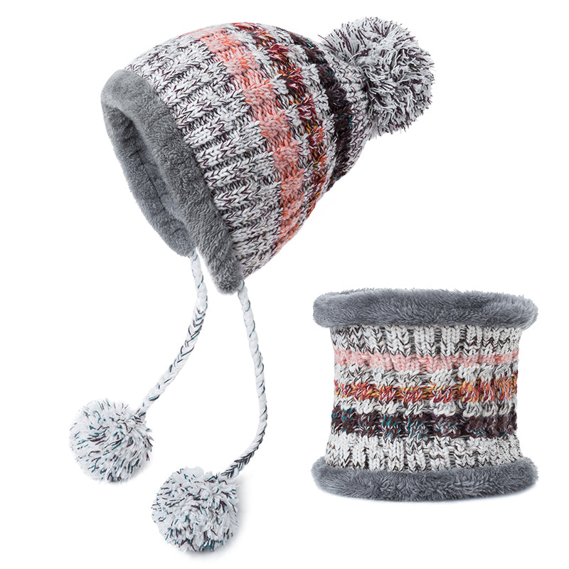 Pompoms Women Winter Hat Scarf Set Girls Boys Warm Knitted Caps Scarves Men Female Sets 2 Pieces Unisex Hats Scarves