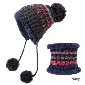 d6ef157de Pompoms Women Winter Hat Scarf Set Girls Boys Warm Knitted Caps Scarves Men Female  Sets 2