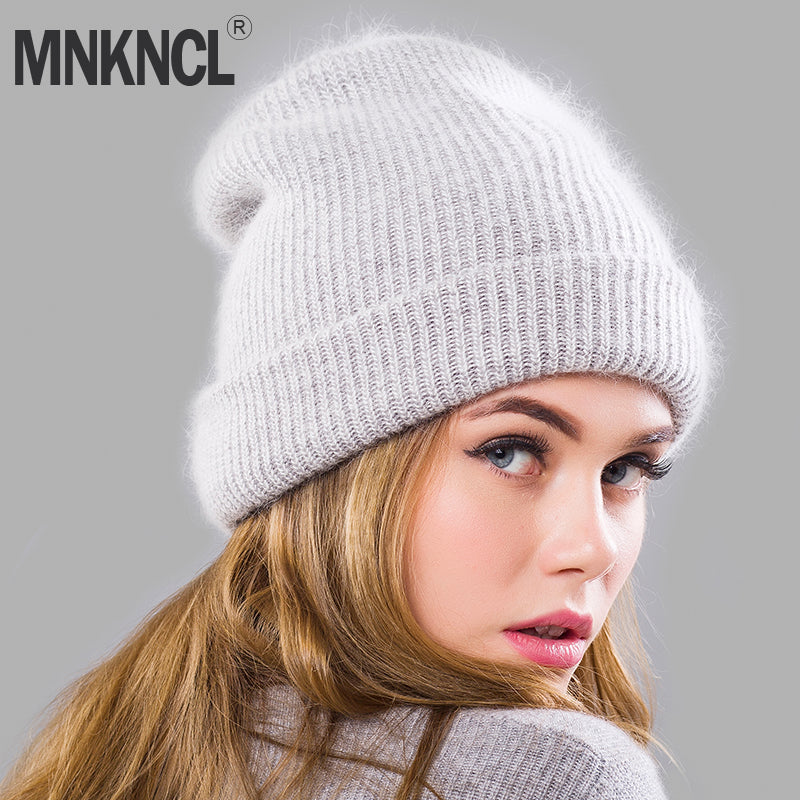 Double-Deck Rabbit hair Knitting Hat Thick Bonnet Warm Cap Solid Winter Hat  for Women s Hat Skullies Beanies Female Caps 9fea8d95d