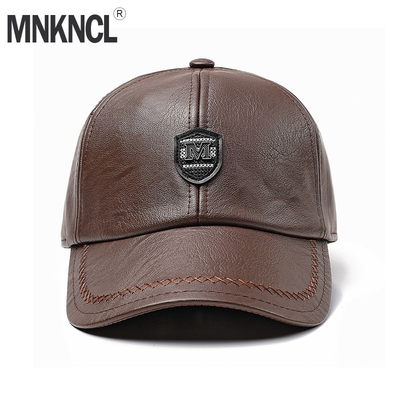 High Quality Men Baseball Cap Winter Snapback Hat Leather Warm Hats Male Fashion Caps Casquette