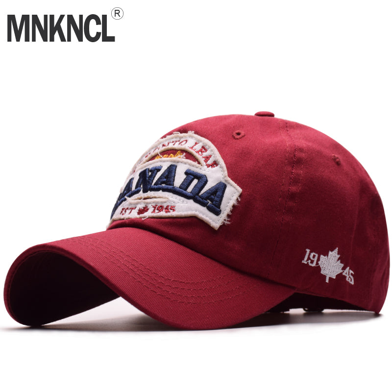 High Quality Unisex 100% Cot Vintage Baseball Cap CANADA Embroidery Snapback Fashion Sports Hats For Men & Women Caps