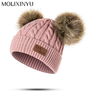 Baby Boys Girls Pom Poms Hat Children Winter Hat For Girls Knitted Beanies  Thick Baby Hat 57adcae9d95f