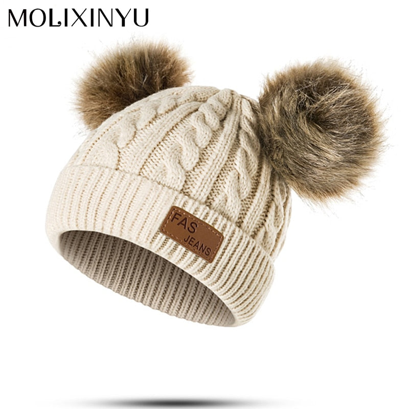 Children Winter Hat For Girls Knitted Baby Boys Girls Pom Poms Hat Beanies Thick Baby Hat Infant Toddler