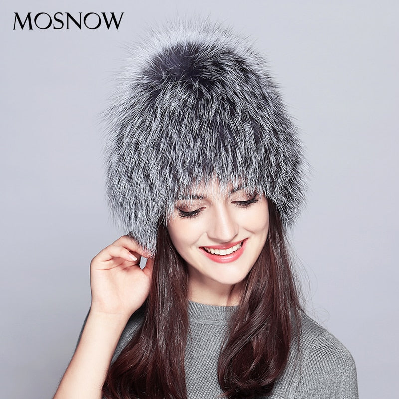 Female Winter Beanie Real Silver Fox Fur New Trendy 2018 Winter Wo Knitted Hat  Women Warm Skullies Beanies 05194abe6f5