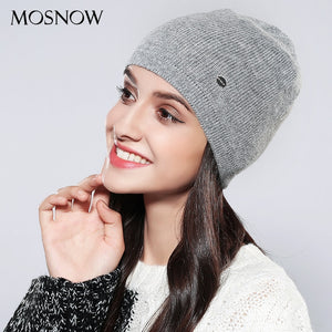 ebc111b870b Knitted Hats Women Solid Fashion High Quality Skullies Beanies 2018 Autu Winter  Knitted Black Hat Female Bonnet  MZ746
