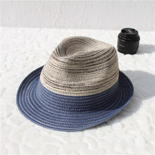 Load image into Gallery viewer, Male Female Gradient Color Straw Jazz Hat Classic Twist Rope Girdle Panama Jazz Hat Beach Hat For Women Men Chapeau De Paille