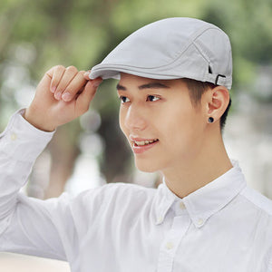 Male Summer Solid Newsboy Caps Men Casual Ivy Hat Pure Cotton Flat Peaked  Cap Women Plain 6c3504a264dc