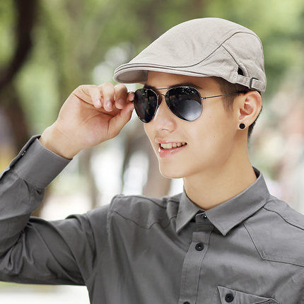 Male Summer Solid Newsboy Caps Men Casual Ivy Hat Pure Cotton Flat ... 3dab495a8bd3